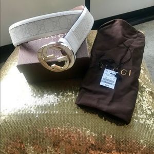Authentic Gucci Belt White Sz 95/ 38 Monogram